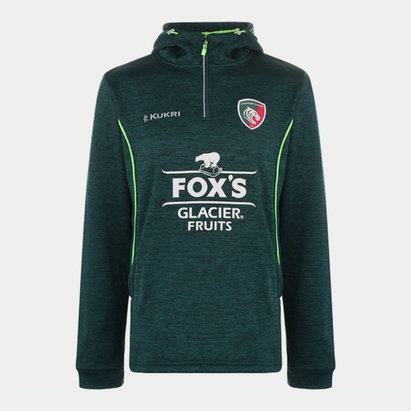 Leicester Tigers Matchday Performance Hoodie Green Mens Kukri