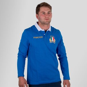 Macron Italy 2017/18 Home L/S Cotton Replica Rugby Shirt