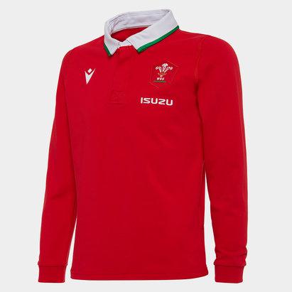 Macron Wales Classic Long Sleeve Home Shirt 2020 2021 Junior