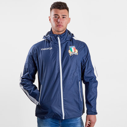 Macron Italy 2018/19 Players Full Zip Shower Rugby Jacket