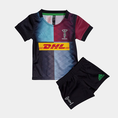 adidas Harlequins 2019/21 Mini Kids Home Replica Rugby Kit