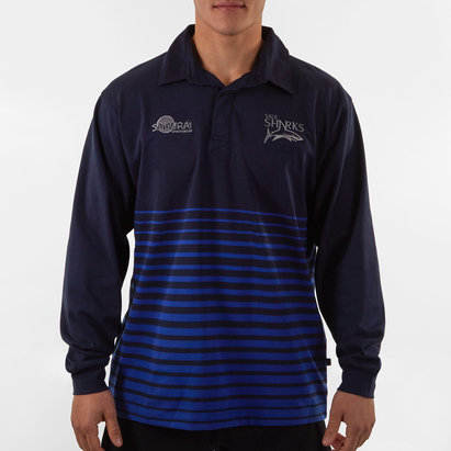 Samurai Sale Sharks 2019/20 Hooped Cotton L/S Rugby Shirt